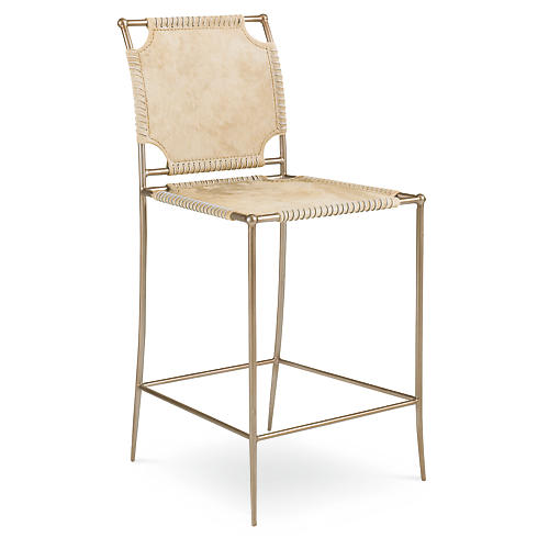 Achille Hide Barstool, Natural