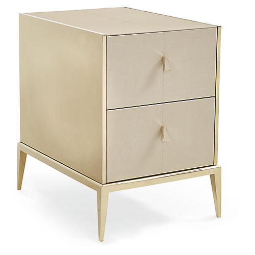 Faux-Shagreen Nightstand, Gold