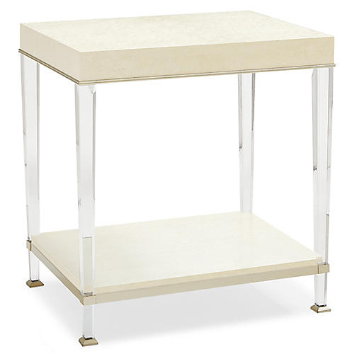 Triana Acrylic Side Table, Ivory