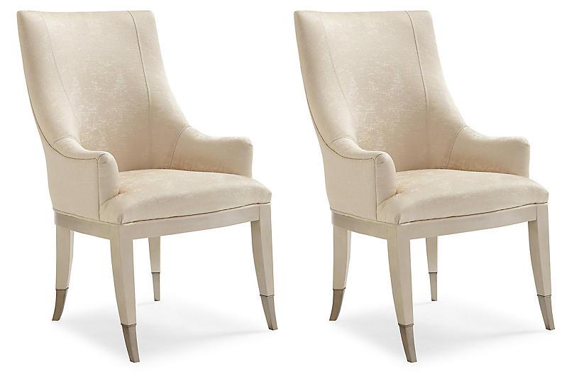 S/2 Malverne Armchairs, Ivory