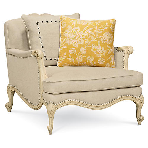 Savoir Faire Accent Chair, Beige Linen