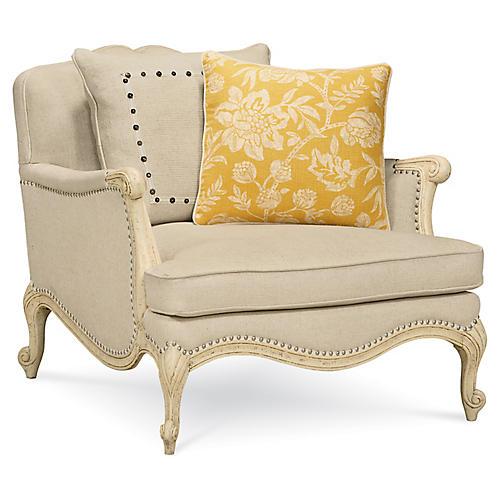Savoir Faire Accent Chair, Beige Linen