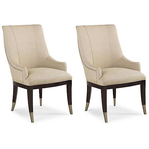 S/2 A La Carte Armchairs, Cream Linen