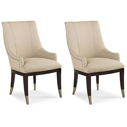 S/2 A La Carte Armchairs, Cream Linen