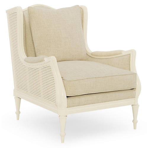 Southern Wingback Chair, Ivory Linen
