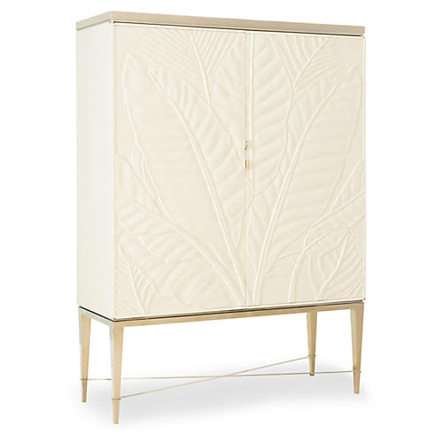 Palms Up Bar Cabinet, Ivory