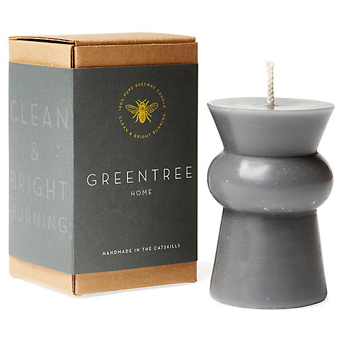 Josee Squat Pillar Candle, Gray