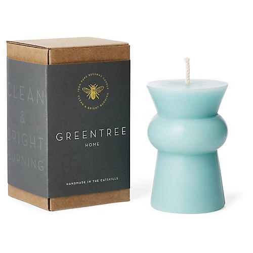 Josee Squat Pillar Candle, Robin's-Egg Blue