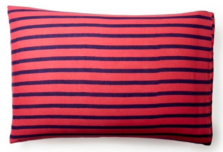 S/2 Printed Pillowcases, Pom. Stripe