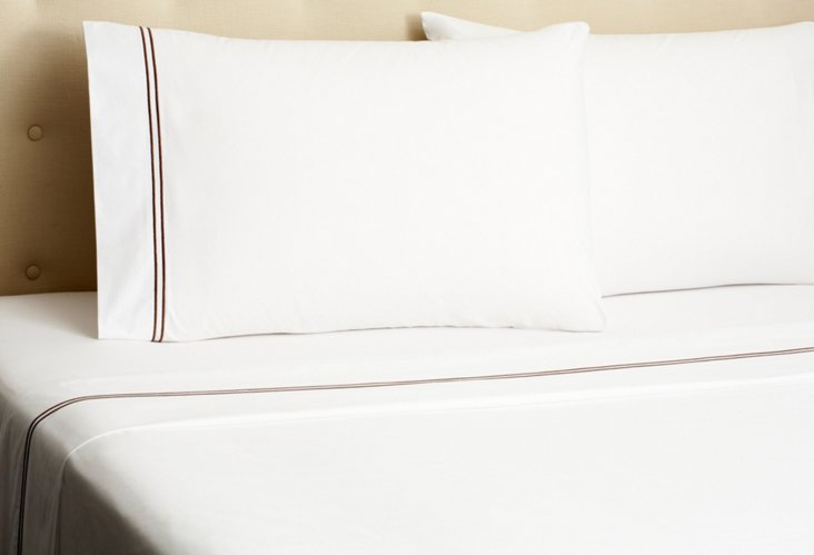 Hotel Embroidered Sheet Set, Chocolate