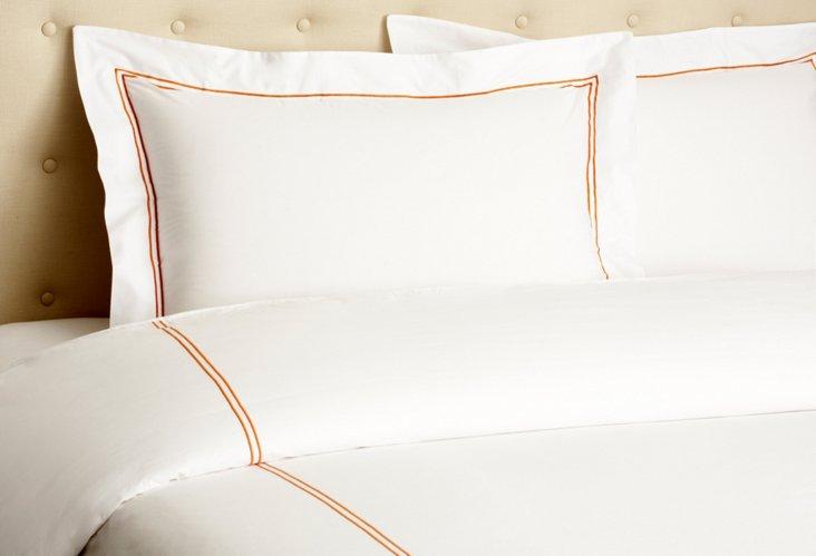 Hotel Embroidered Duvet Set, Orange