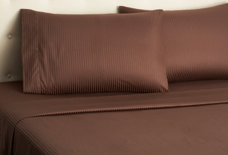 Sateen Stripe Sheet Set, Chocolate