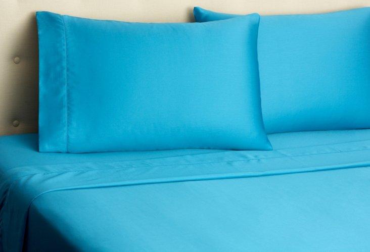 Hemstitch Sateen Sheet Set, Blue