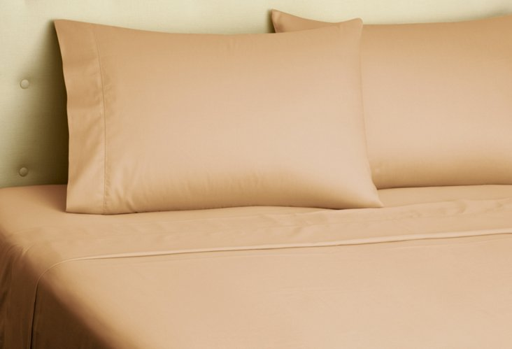 Hemstitch Sateen Sheet Set, Coffee