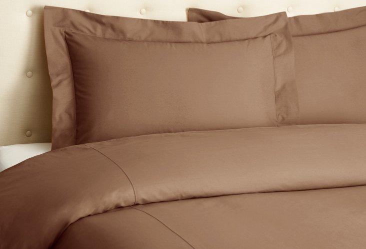 Percale Duvet Set, Brown