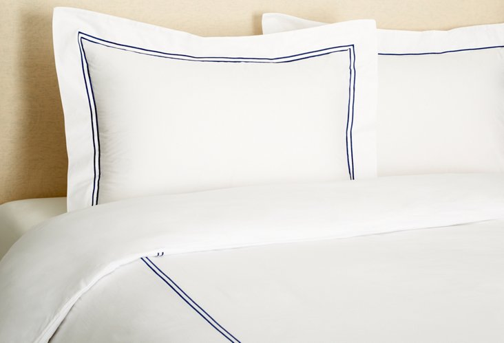 Queen Hotel Embroidered Duvet Set, Navy