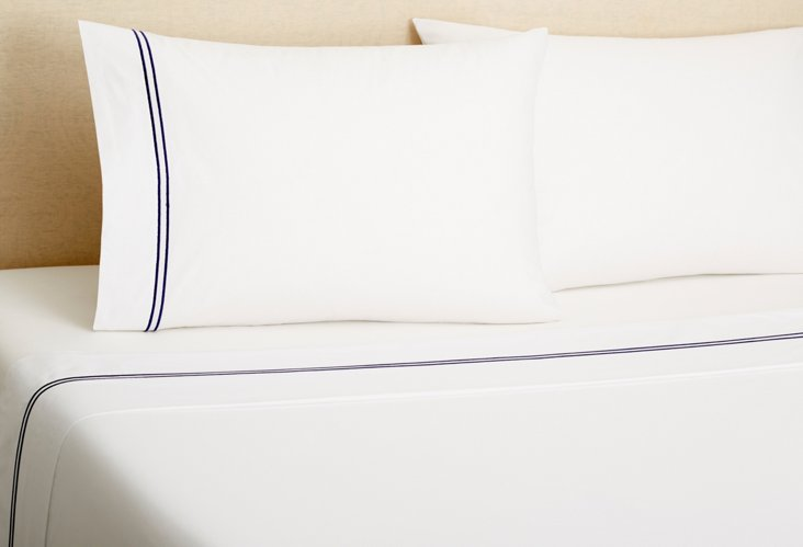 Hotel Embroidered Sheet Set, Navy