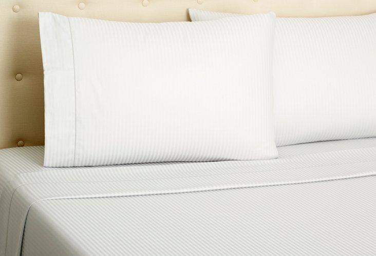 Satin Stripe Sheet Set, Gray