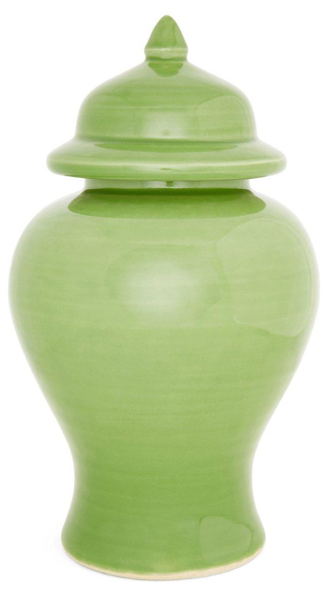 "13"" Ginger Ceramic Jar, Green"