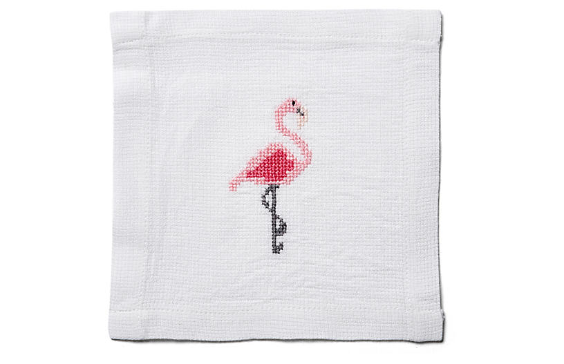 S/4 Flamingo Cocktail Napkin, Pink