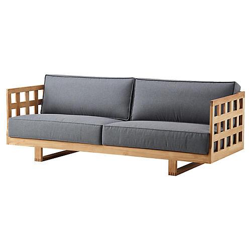 Square Sofa, Natural/Gray Sunbrella