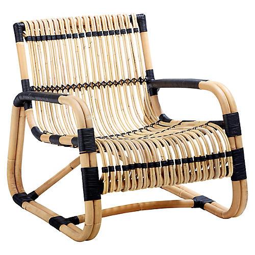 Curve Club Chair, Natural/Black