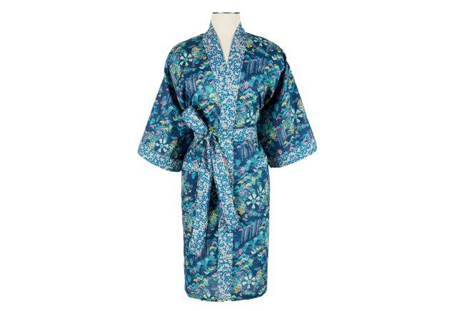 Cotton Wrap Kimono, Moonlit Watergarden