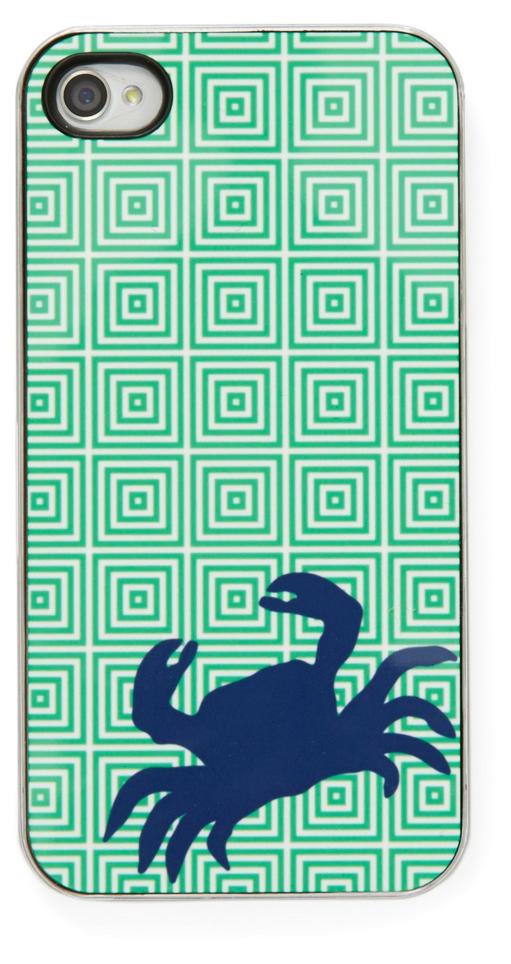 iPhone Case, Navy Crab w/ Green Squares