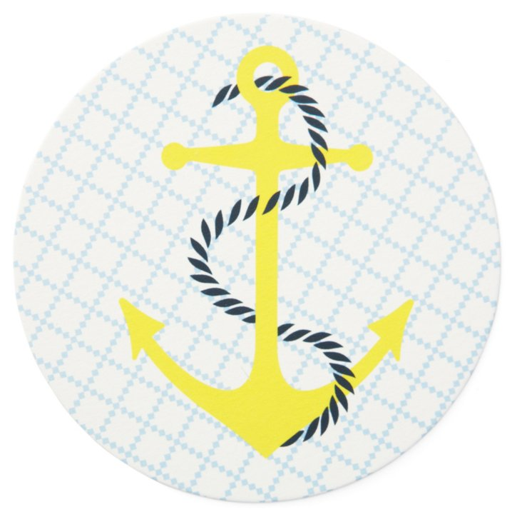 S/40 Anchor Coasters, Yellow/Blue