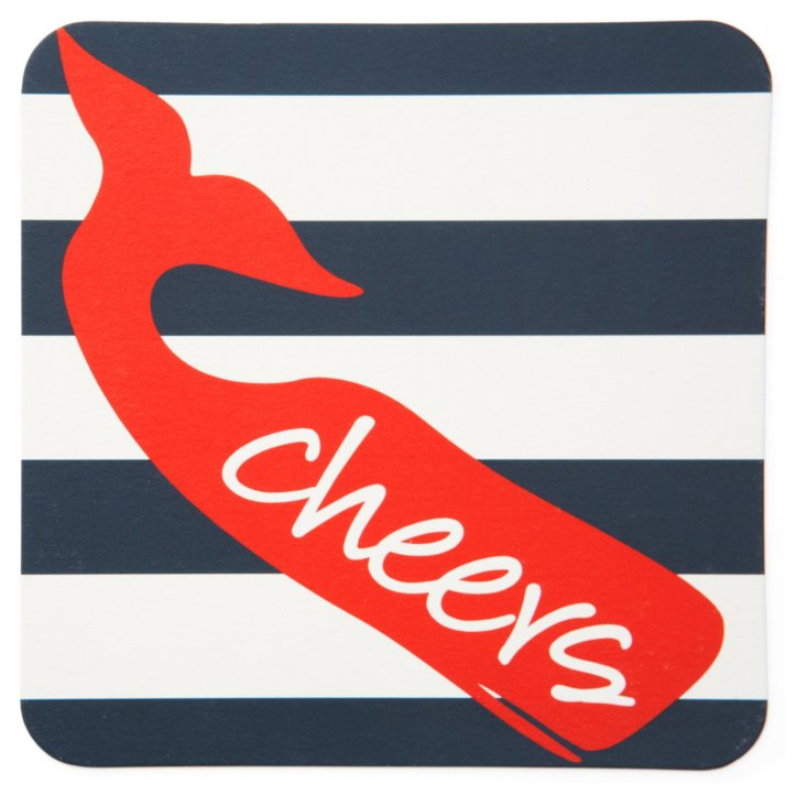 S/40 Striped Whale Coasters, Navy/Red