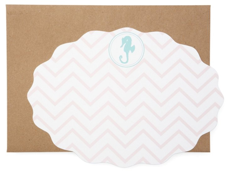 S/20 Cards, Pink Chevron Seahorse