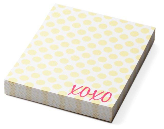 "S/2 Mini Notepads, ""XOXO"" Polka Dot"