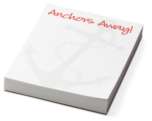 "S/2 Mini ""Anchors Away"" Notepads, Gray"