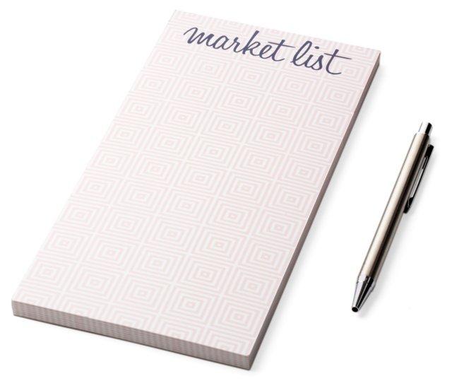 """S/2 """"Market List"""" Notepads, Pink"""