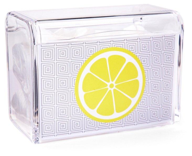 Lemon Recipe Box, Royal Blue/Yellow