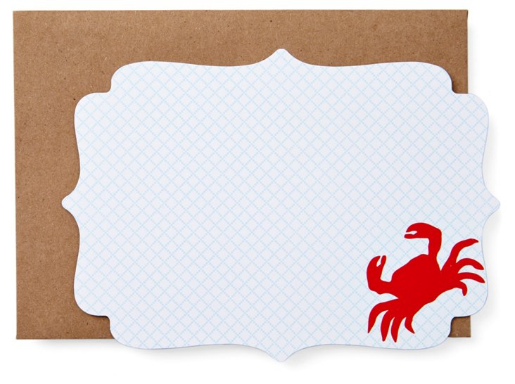 S/20 Cut Crab Note Cards, Blue/Red