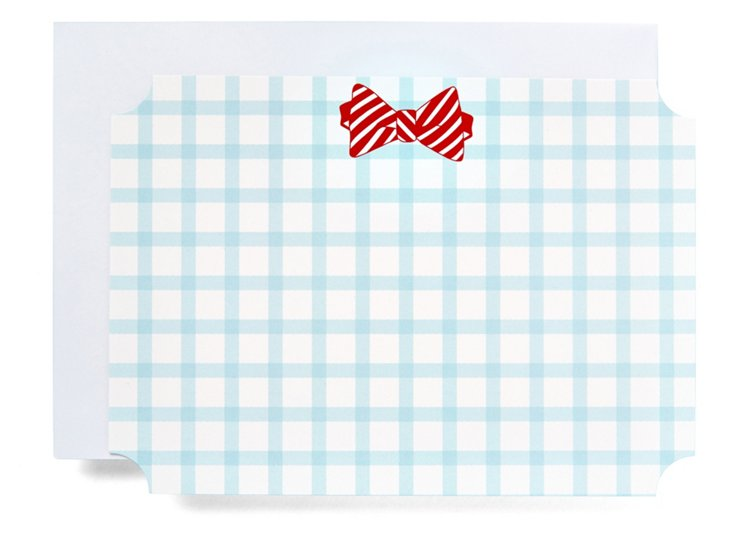 S/20 Bow Tie Note Cards, Red/Blue