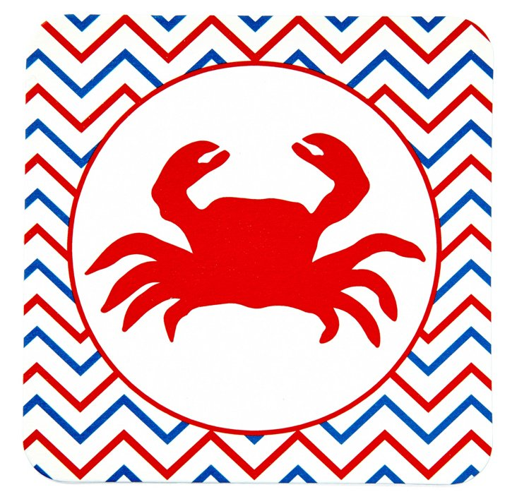 S/10 Square Crab Coasters, Red