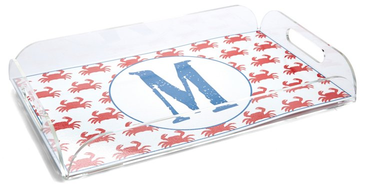 10x16 Red Crab Lucite Tray, Blue Initial