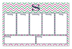 Desk Pad Weekly Planner, Pink Chevron