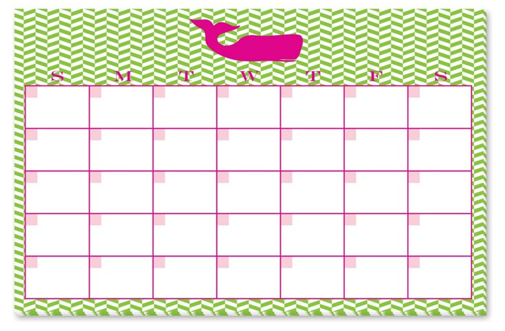Whale Monthly Desk Pad, Lime/Pink