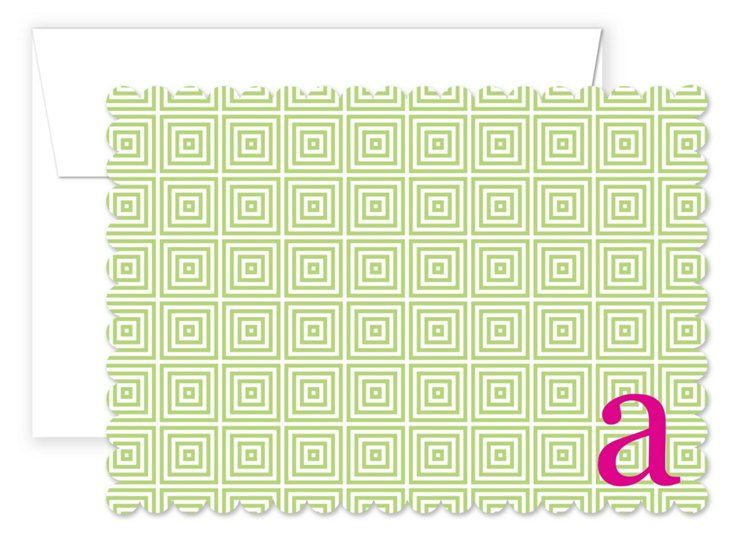 S/20 Initial Square Cards, Pink/Green