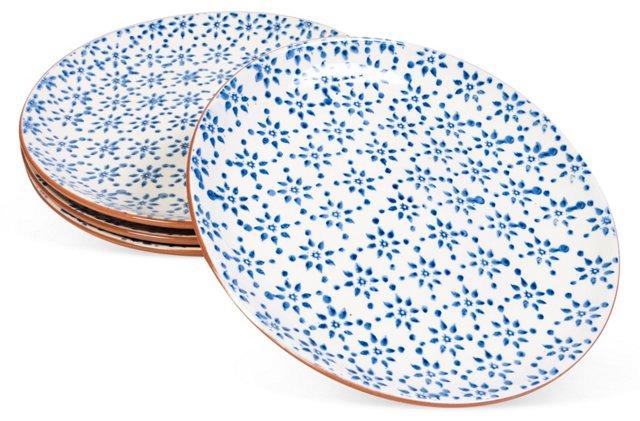 Blue/White Earthenware Plates, Set of 4