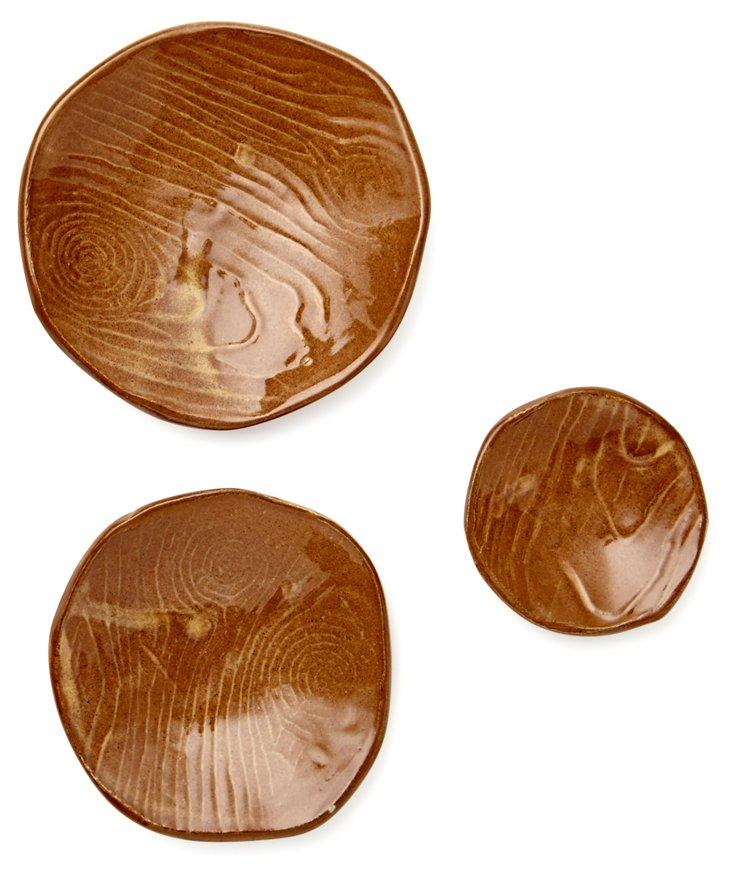 S/3 Hand-Cut Porcelain Woodgrain Bowls