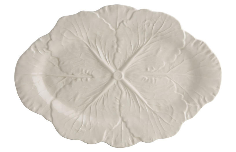 Cabbage Oval Platter, Beige