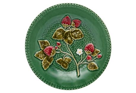 Strawberries Dessert Plate, Green