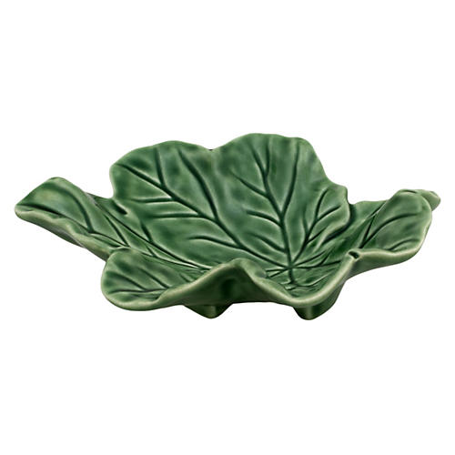 Star Leaf Serving Plate, Green