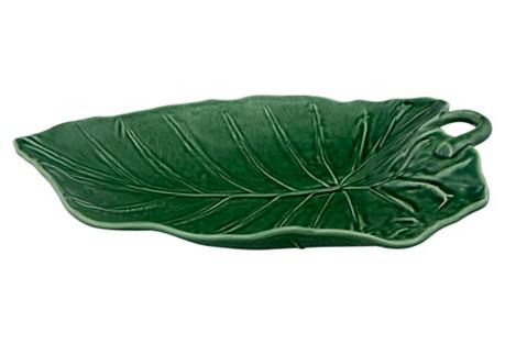 Sunflower Leaf Platter, Green
