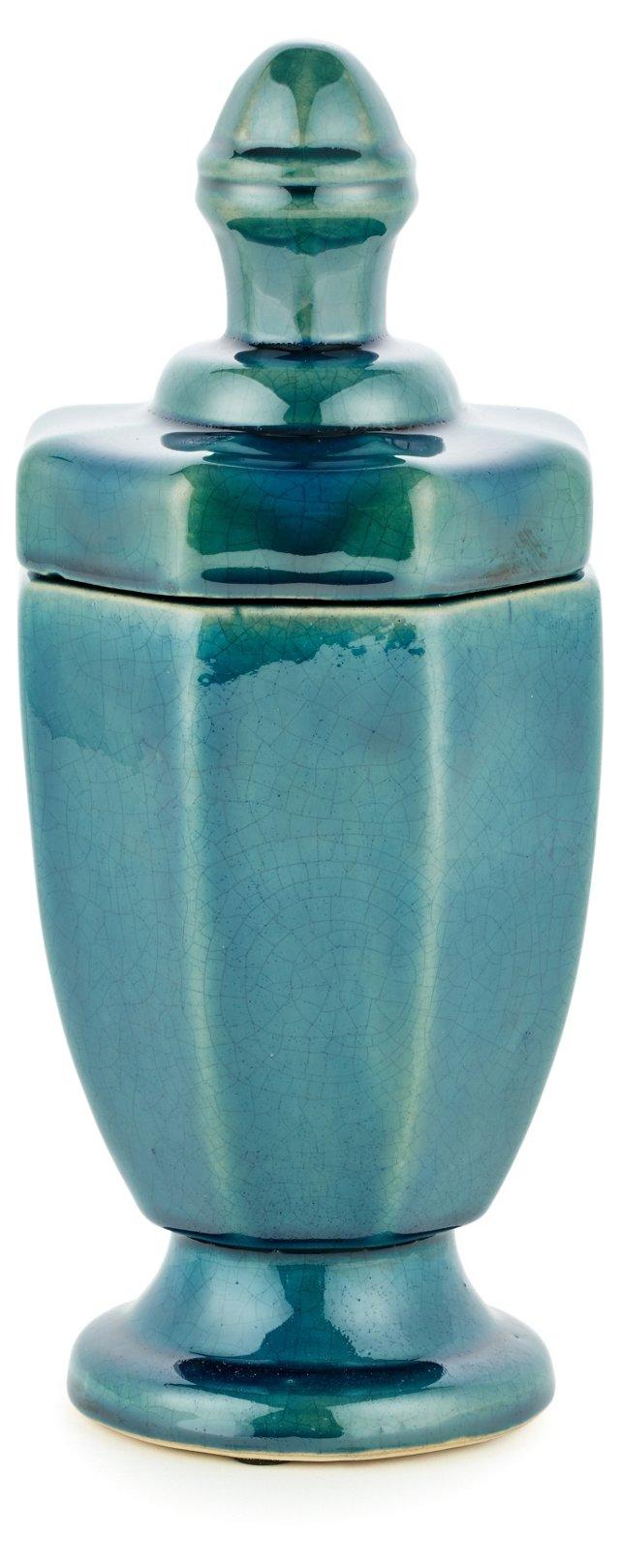 """13"""" Castle Jar, Aqua"""