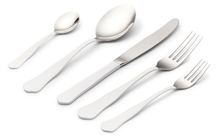 5-Pc Matte-Dipped Place Setting, White